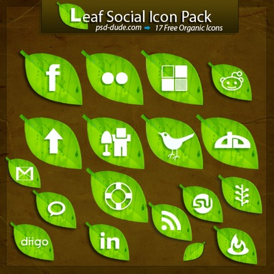 Leaf social icon pack