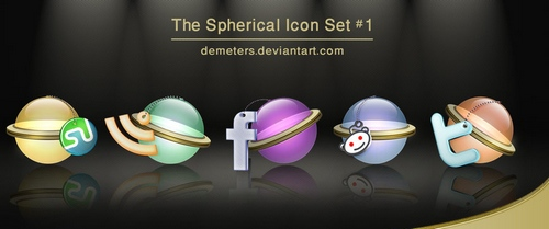 The spherical social networking icons