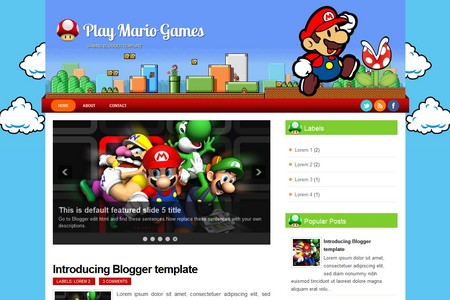 Play Mario Games Blogger Template